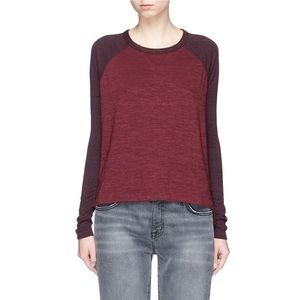 NWT RAG&BONE/JEAN Burgundy Camden Colorblock Top